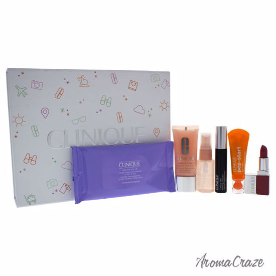 Clinique Fresh On Arrival Set 10 Pc Towelettes Take the Day Off, 1oz Moisture Surge Face Spray Thirst Skin Relief, 1oz Moisture Surge Extended Thirst Relief, 0.3oz Chubby Lash Fattening Mascara, 0.13oz Clinique Pop Lip Colour + Primer, 0.5oz Pep-Star Eye Cream for Women 6 Pc Set - Eye Makeup | Eye Makeup Kit | Eye Shadow | Eye liner | Eye Mascara | Eye Cosmetics Products | Eye Makeup For Big Eyes | Buy Eye Makeup Online | AromaCraze.com