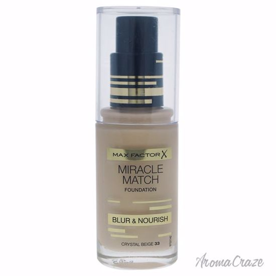 Max Factor Miracle Match Foundation # 33 Crystal Beige for Women 30 ml - Face Makeup Products | Face Cosmetics | Face Makeup Kit | Face Foundation Makeup | Top Brand Face Makeup | Best Makeup Brands | Buy Makeup Products Online | AromaCraze.com