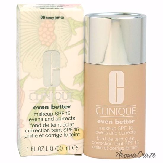 Clinique Even Better Makeup SPF 15 # 06 Honey (MF-G) Dry To Combination Oily Skin Foundation for Women 1 oz - Face Makeup Products | Face Cosmetics | Face Makeup Kit | Face Foundation Makeup | Top Brand Face Makeup | Best Makeup Brands | Buy Makeup Products Online | AromaCraze.com