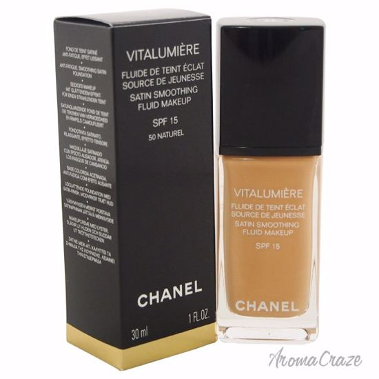 Vitalumiere Satin Smoothing Fluid Makeup SPF 15 - 50 Naturel by Chanel for Women - 1 oz Foundation - Face Makeup Products | Face Cosmetics | Face Makeup Kit | Face Foundation Makeup | Top Brand Face Makeup | Best Makeup Brands | Buy Makeup Products Online | AromaCraze.com