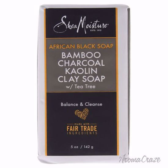 Shea Moisture African Black Soap Bamboo Charcoal Kaolin Clay Soap for Unisex - 5 oz Bar Soap