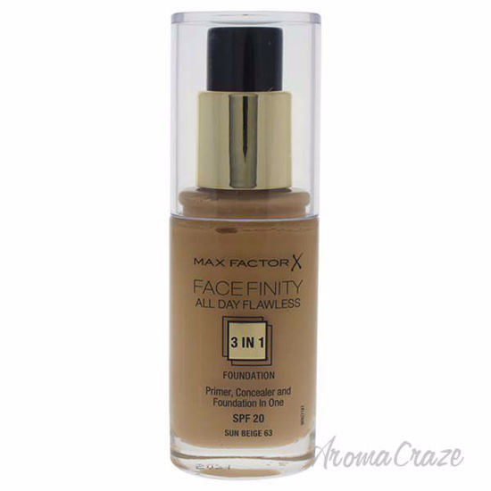Facefinity All Day Flawless 3 In 1 Foundation SPF20 - # 63 Sun Beige by Max Factor for Women - 30 ml Foundation - Face Makeup Products | Face Cosmetics | Face Makeup Kit | Face Foundation Makeup | Top Brand Face Makeup | Best Makeup Brands | Buy Makeup Products Online | AromaCraze.com