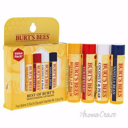 Best Of Burts Bees Set by Burts Bees for Unisex - 4 Pc Set 0.15oz Beeswax, 0.15oz Strawberry, 0.15oz Coconut and Pear, 0.15oz Vanilla Bean - Lip Makeup | Lip Makeup Products | Best Lipsticks Colors | Lip Cosmetics | Lipsticks and Lip Colors | Lip Gloass | Best Lipsticks Brands | Make up cosmetics | AromaCraze.com