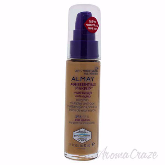 Almay Age Essentials Multi-Benefit Anti-Aging Makeup - 130 Light-Medium Neutral by Almay for Women - 1 oz foundation