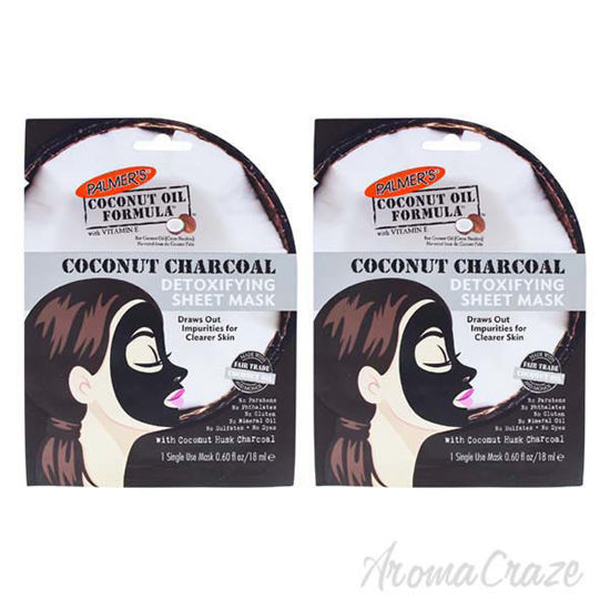 Picture of Coconut Charcoal Detoxifying Sheet Mask by Palmers for Women - 0.60 oz Mask - Pack of 2