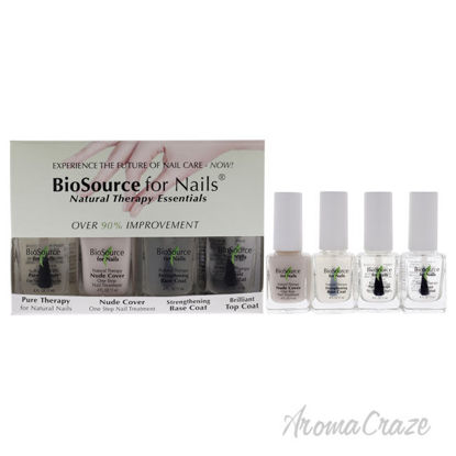 Picture of Natural Therapy Essentials Kit by Biosource For Nails for Women - 4 Pc Kit 0.4 oz Pure Therapy, 0.4 oz Nude Cover, 0.4 oz Strengthening Base Coat, 0.4 oz Brilliant Top Coat