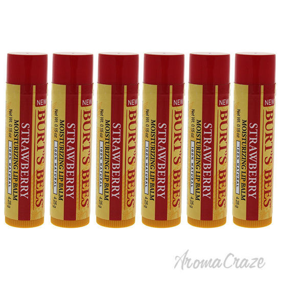 Picture of Strawberry Moisturizing Lip Balm by Burts Bees for Unisex - 0.15 oz Lip Balm - Pack of 6