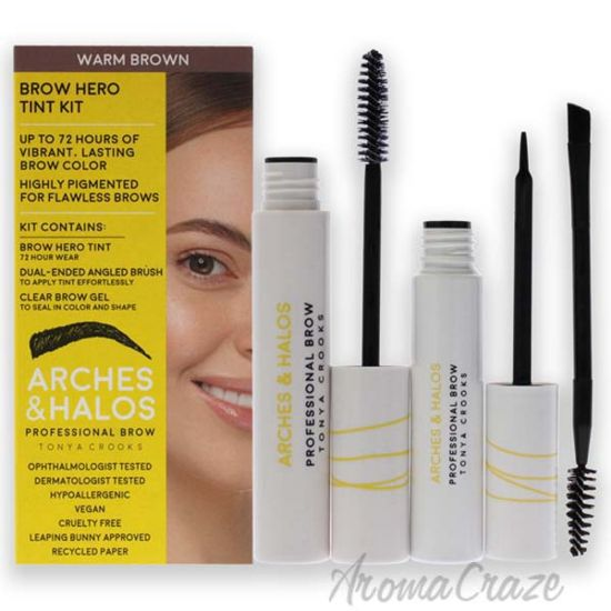Picture of Brow Hero Tint Kit - Warm Brown by Arches and Halos for Women - 2 Pc Dual-Ended Angled Brush, Clear Brow Gel