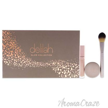 Picture of Glow Collection Pure Light Collection by Delilah for Women - 3 oz 0.22 oz Pure Light Liquid Radiance, 0.12 oz Pure Light Compact Illuminating Powder, Brush